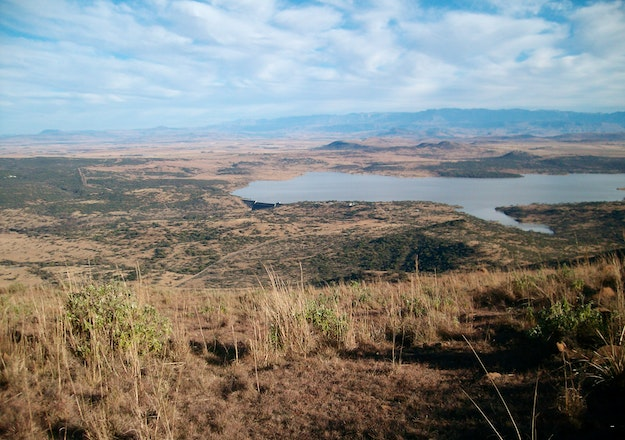 View from Spion Kop on the Spion Kop dam in the Tugela river