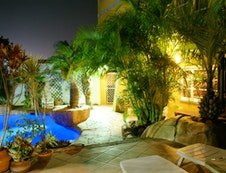 Patio to Pool at night