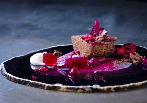 Chocolate mousse baby beets and a yoghurt curd